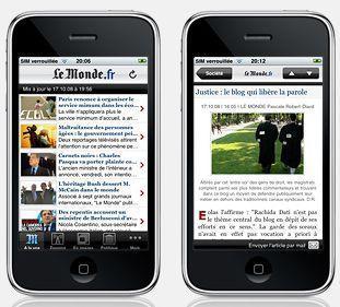 Application lemonde.fr sur iphone