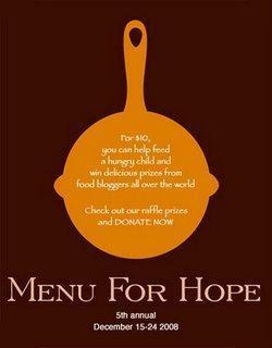 Menu for Hope V, le prix que je donne