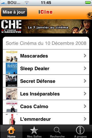 iphone  iCine, lactu cinéma dans votre iPhone