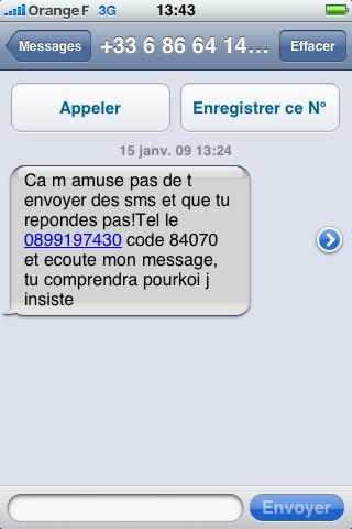 Piège à cons par texto
