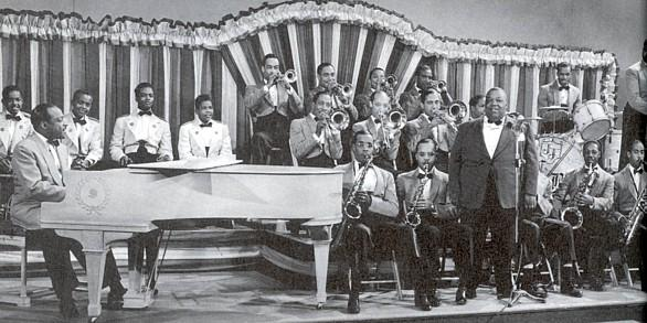 Count Basie's band, with singer Jimmy Rushing, 1943