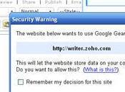 Zoho Writer Google Gears