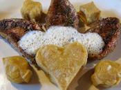Filets rougets panés coriandre, panisse écume citron confit