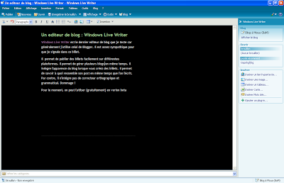 Un editeur de blog : Windows Live Writer