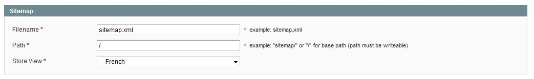 Formulaire Sitemap Partie administration Magento