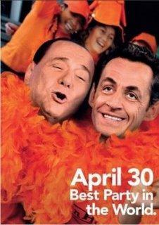 Amsterdam : Sarkozy, Berlusconi, Obama, sur des affiches