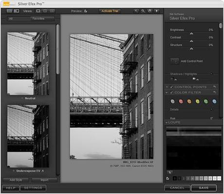 Interface de Silver Efex Pro