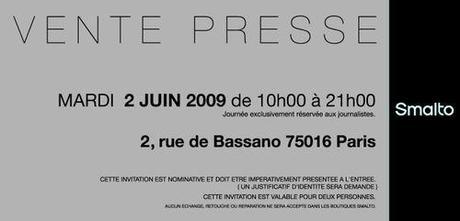 Invitation Vente Presse Smalto VIP 2 Juin