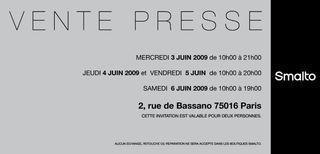 Invitation Vente Presse Smalto du 3 au 6 Juin