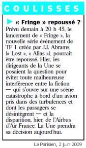 Crash l'Airbus lancement Fringe repoussé (màj)