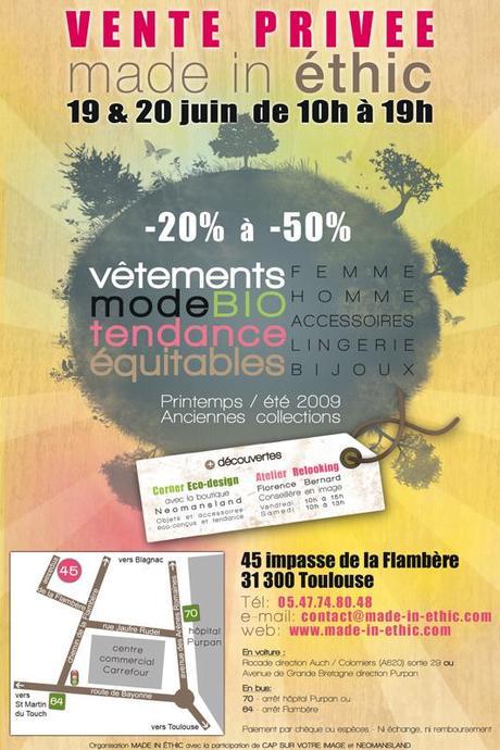 Vente privée de mode éthique les 19 & 20 juin à TOULOUSE