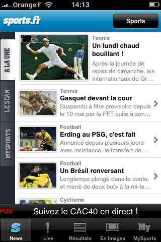 Sports 6 applications iPhone gratuites « spécial actualité »