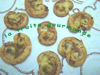 Palmiers truite fumée et Pesto de Roquette