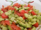 Salade tomates, concombre avocat
