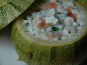 Courgettes farcies ricotta, saumon, citron vert coriandre