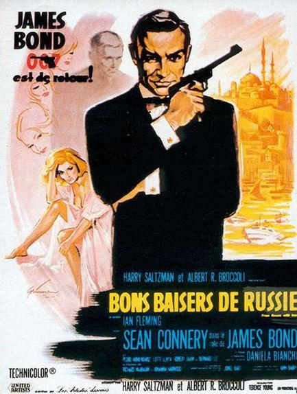 Sean Connery, Ian Fleming, Terence Young dans Bons baisers de Russie (Affiche)