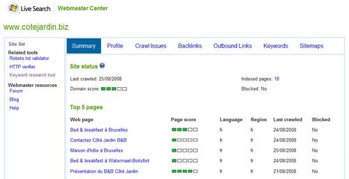 Live Search Webmaster Center