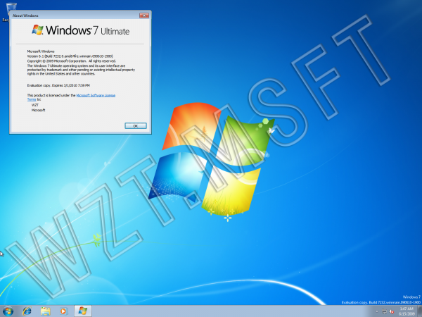 Windows 7 build 7232 VHD déja sur le net avec le fond d'écran officiel !
