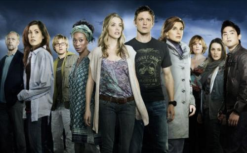 DAY ONE -- Pictured: Pictured: (l-r) Xander Berkeley as Clark, Carly Pope as Bonnie Cayce, Adam Campbell as Zach Adamski, April Grace as Max, Julie Gonzalo as Kelly Vargas, David Lyons as Sam Brody, Thekla Reuten as Lynne, Catherine Dent as Jennifer, Addison Timlin as Hunter Christiansen, Derek Mio as Johnny Nozawa -- NBC Photo: Mitchell Haaseth
