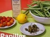 Haricots mange-tout plats verts tomates cerises câpres
