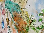 sentier littoral varois. depuis pointe Gouron. Dessin aquarellé.