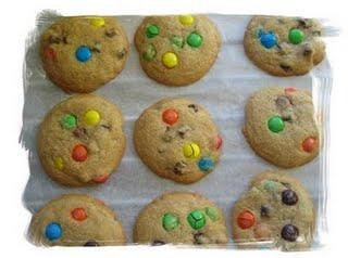 Chocolate chip and M&M;'s cookies version USA !!
