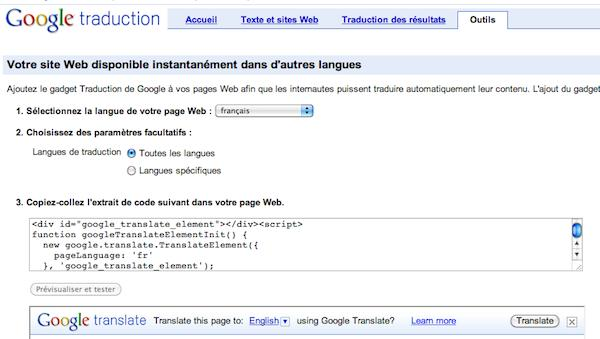 widget google traduction1 Google Traduction offre un widget qui traduit votre site automatiquement