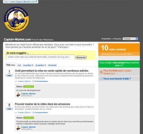Forum officiel uservoice de Captain-Market.com