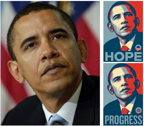 À gauche l'image de Manny Garcia d'AP et à droite le travail du graphise Shepard Fairley