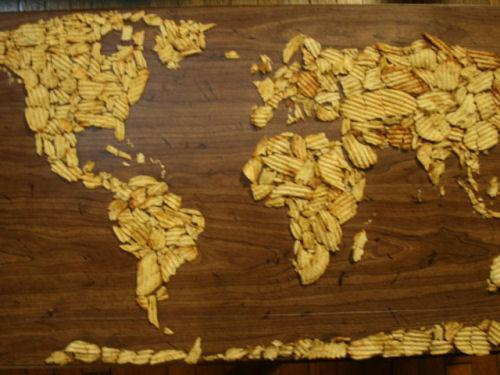 photo carte monde chips humour insolite