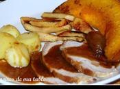 Roti porc sauce l'orange, portiron coing