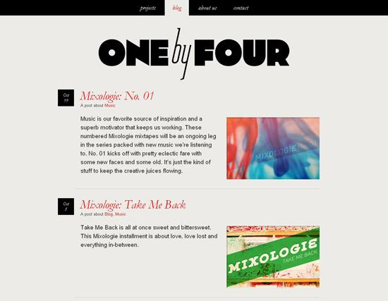 Onebyfour in 50 Beautiful and Creative Blog Designs