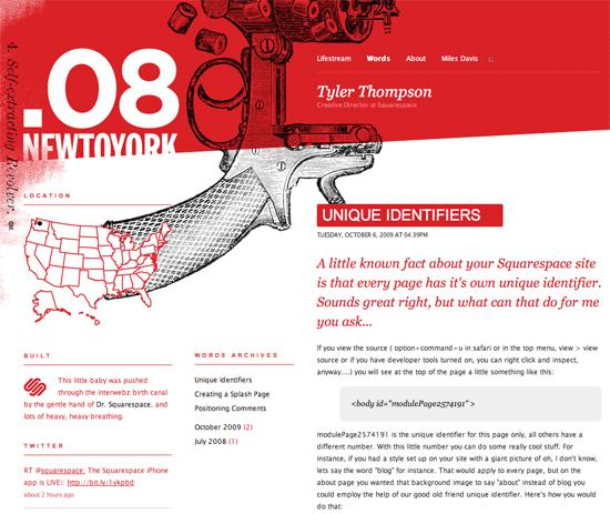Tyler in 50 Beautiful and Creative Blog Designs