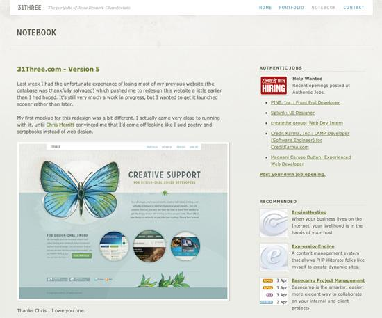 31three in 50 Beautiful and Creative Blog Designs