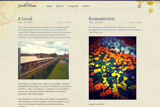 Jord Amp Chan in 50 Beautiful and Creative Blog Designs