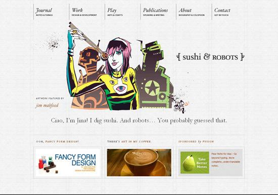 Sushi in 50 Beautiful and Creative Blog Designs