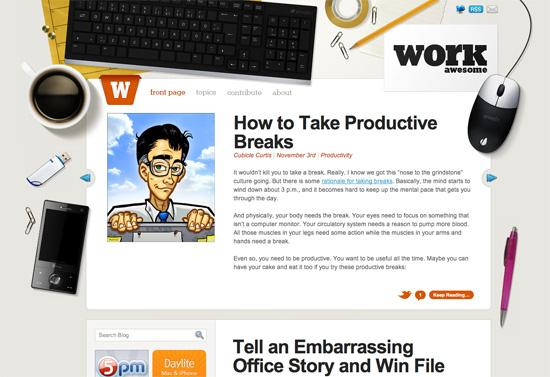 Workawesome in 50 Beautiful and Creative Blog Designs