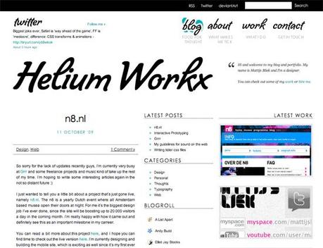 Hellium in 50 Beautiful and Creative Blog Designs