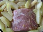 Roti porc fruits verger