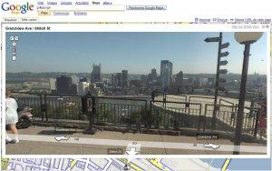 Mont Washington, Pittsburgh downtown view from Google Street View