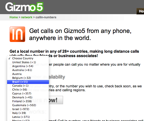 gizmo5 3 Gizmo Call In une alternative à SkypeIn [VOIP]