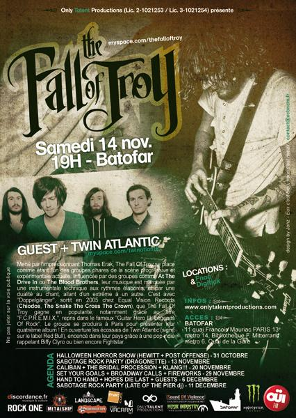 Review Concert : The Fall Of Troy + Twin Atlantic + Mutiny On The Bounty @ Batofar 14/11/09