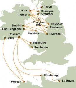 Ferry Irlande - Carte des Traversées