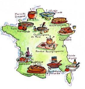 Carte de France - Plats régionaux