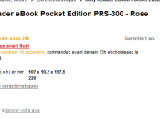 Reader Pocket Edition Sony vendu France quoi joue-t-on