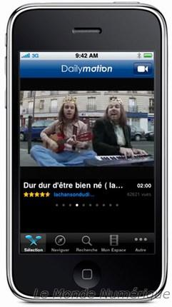 DailyMotion s'invite sur l'iPhone et sur l'iPod Touch