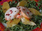 Réutiliser restes salade roquette, langouste, orange baies roses