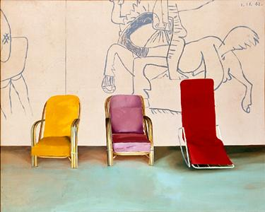 art-documents:  David Hockney / 3 chairs with a selection of a...