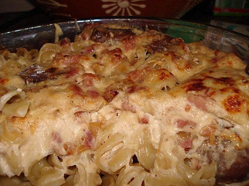 Gratin de pâtes aux lardons et au chorizo - Paperblog