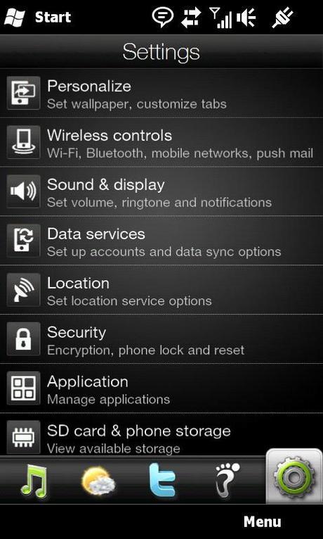 HTC HD 2 screen 4